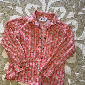 Snap Button down cowgirls longsleeve size M 8